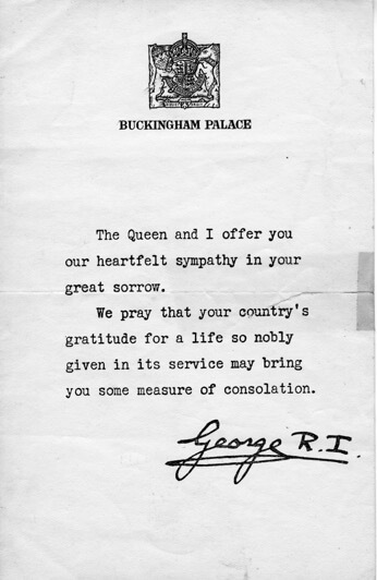 The letter from the King of England © The Papers of Earle Crime