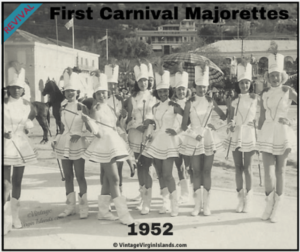 First Carnival Majorettes march in Revival Carnival Parade in St. Thomas, US Virgin Islands ~ 1952 By Valerie Sims