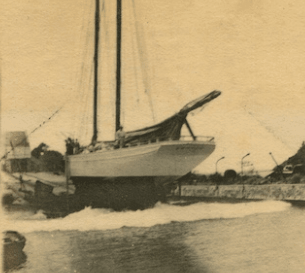 The schooner, ZUHRAH at the Creque Marine Railway on Hassel Island ~ 1920 By Valerie Sims