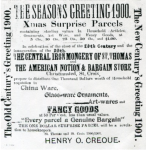 The American Notion and Bargain Store advertises its Christmas sale in St. Croix, Danish West Indies ~ 1900 By Valerie Sims