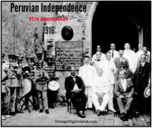 Celebrating Peruvian Independence in St. Thomas, Danish West Indies.