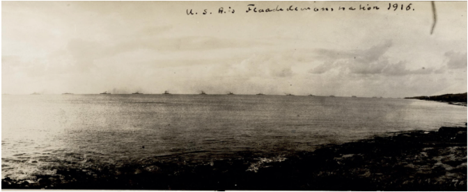 Admiral Henry T. Mayo, Commander of the North American Fleet passes St. Croix, Danish West Indies ~ 1917 By Valerie Sims