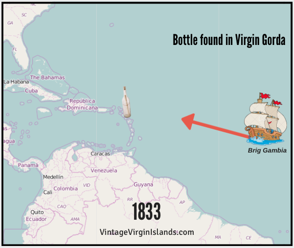 Finding a message in a bottle in Virgin Gorda, British Virgin Islands ~ 1833 By Valerie Sims