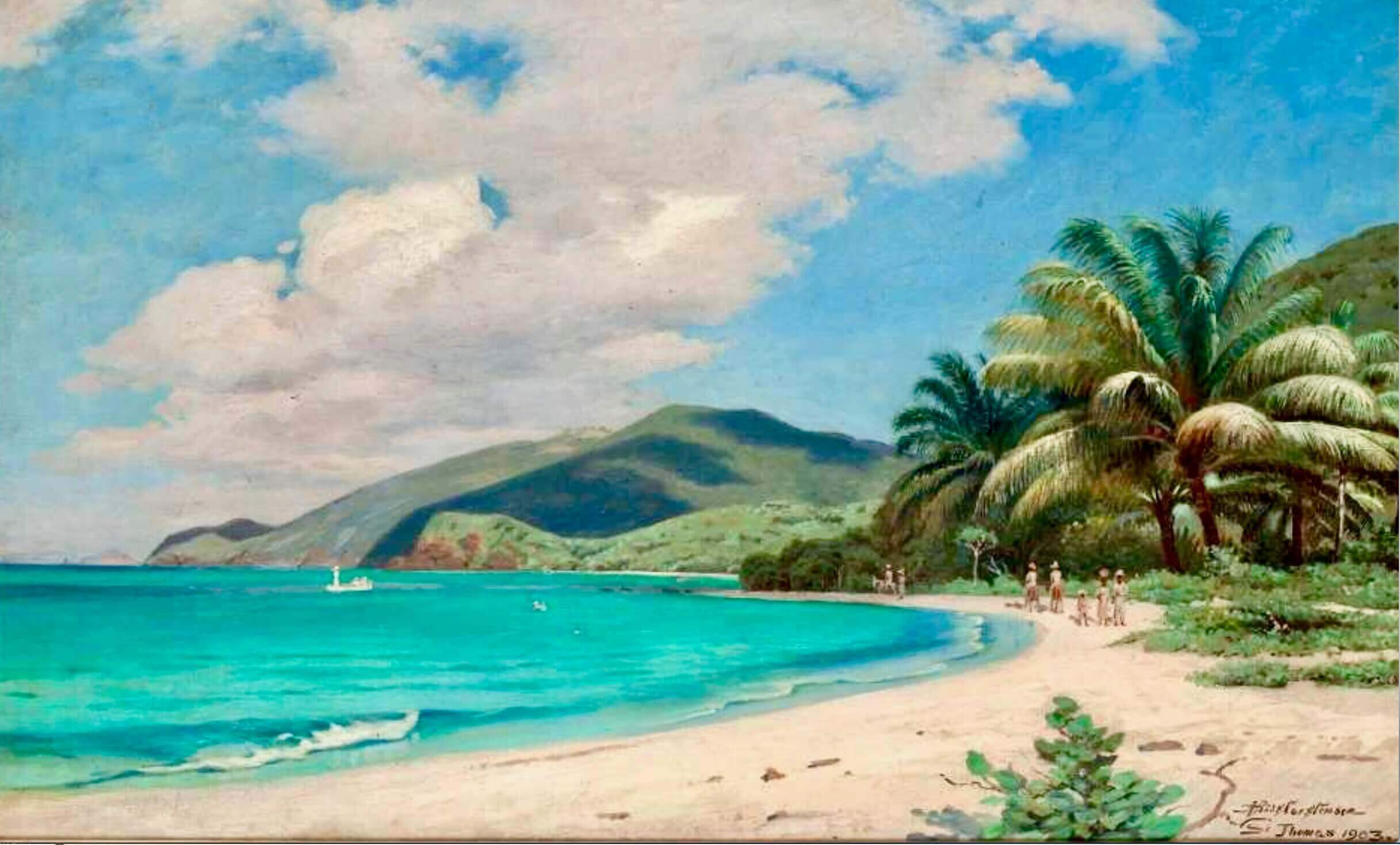 Beautiful Painting by Riis Carstensen of St. Thomas, Danish West Indies