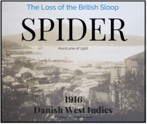 The Loss of the British Sloop, SPIDER during the Hurricane of 1916. By Valerie Sims