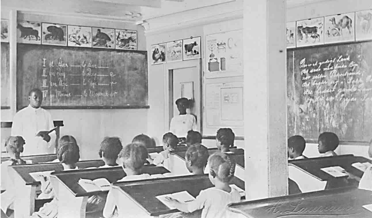 Teachers at school in classroom, Danish West Indies