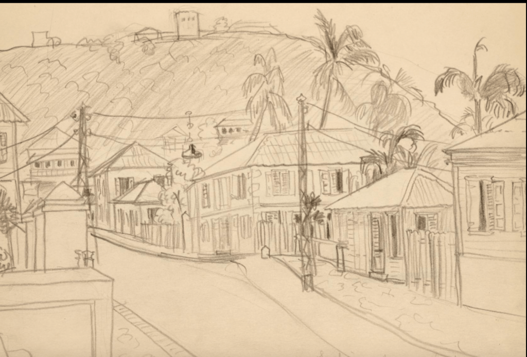 Beautiful sketches found of the US Virgin Islands by artist, Margaret Casey Gates ~ 1936