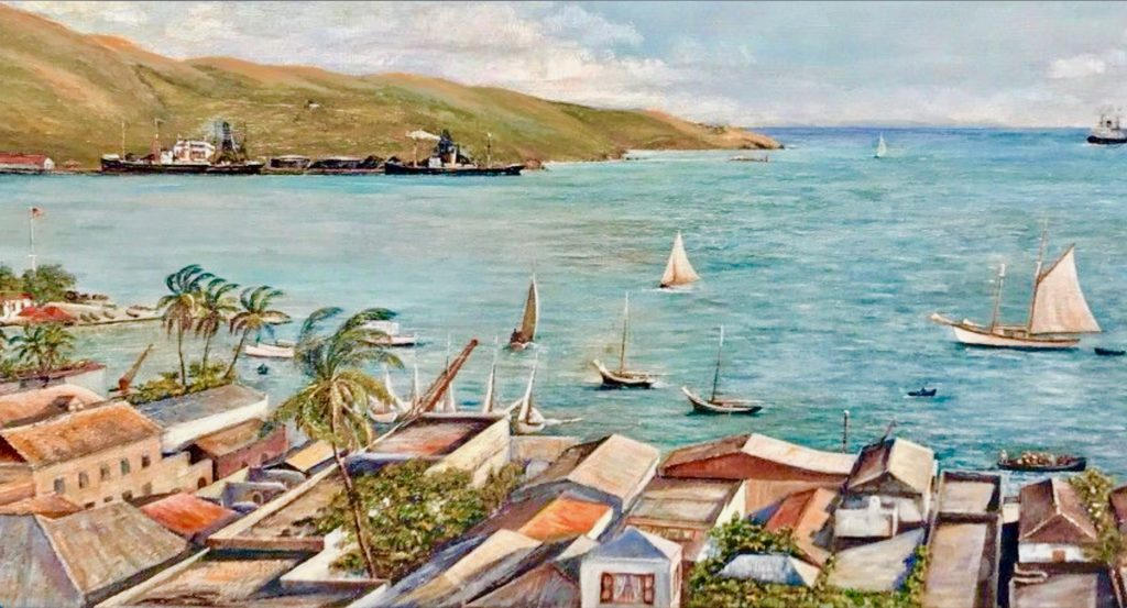Rare Painting of Charlotte Amalie Harbor Up for Sale ~ 1927