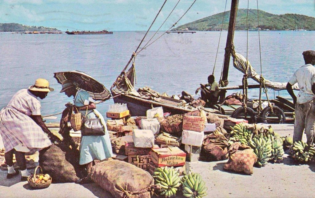 1965 Waterfront shopping, St. Thomas, Virgin Islands postcard