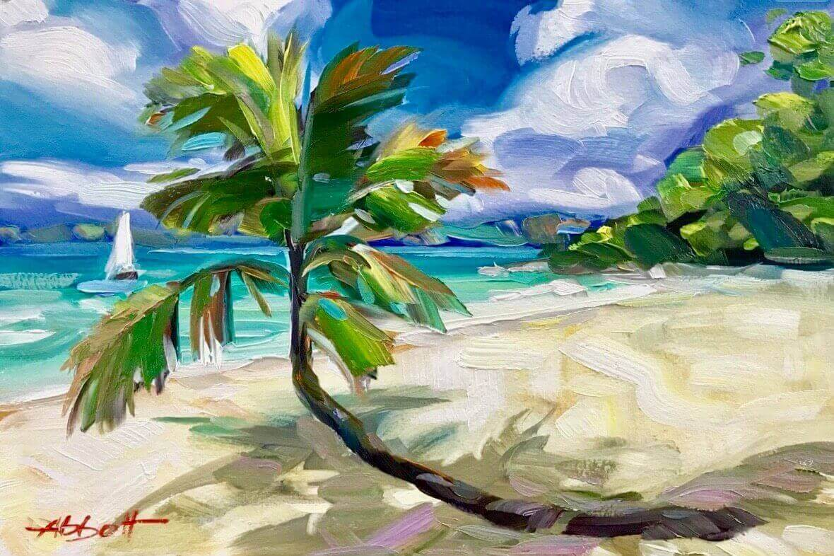 Coconut Palm Tree Painting in the Virgin Islands
