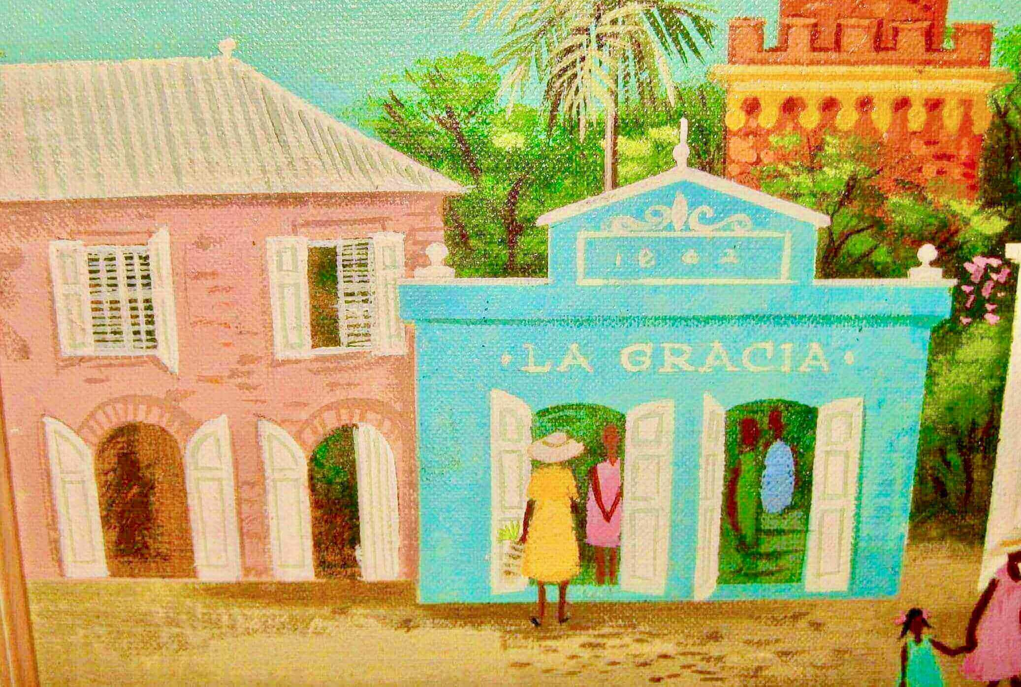 Ira Smith Painting of Main Street, US Virgin Islands