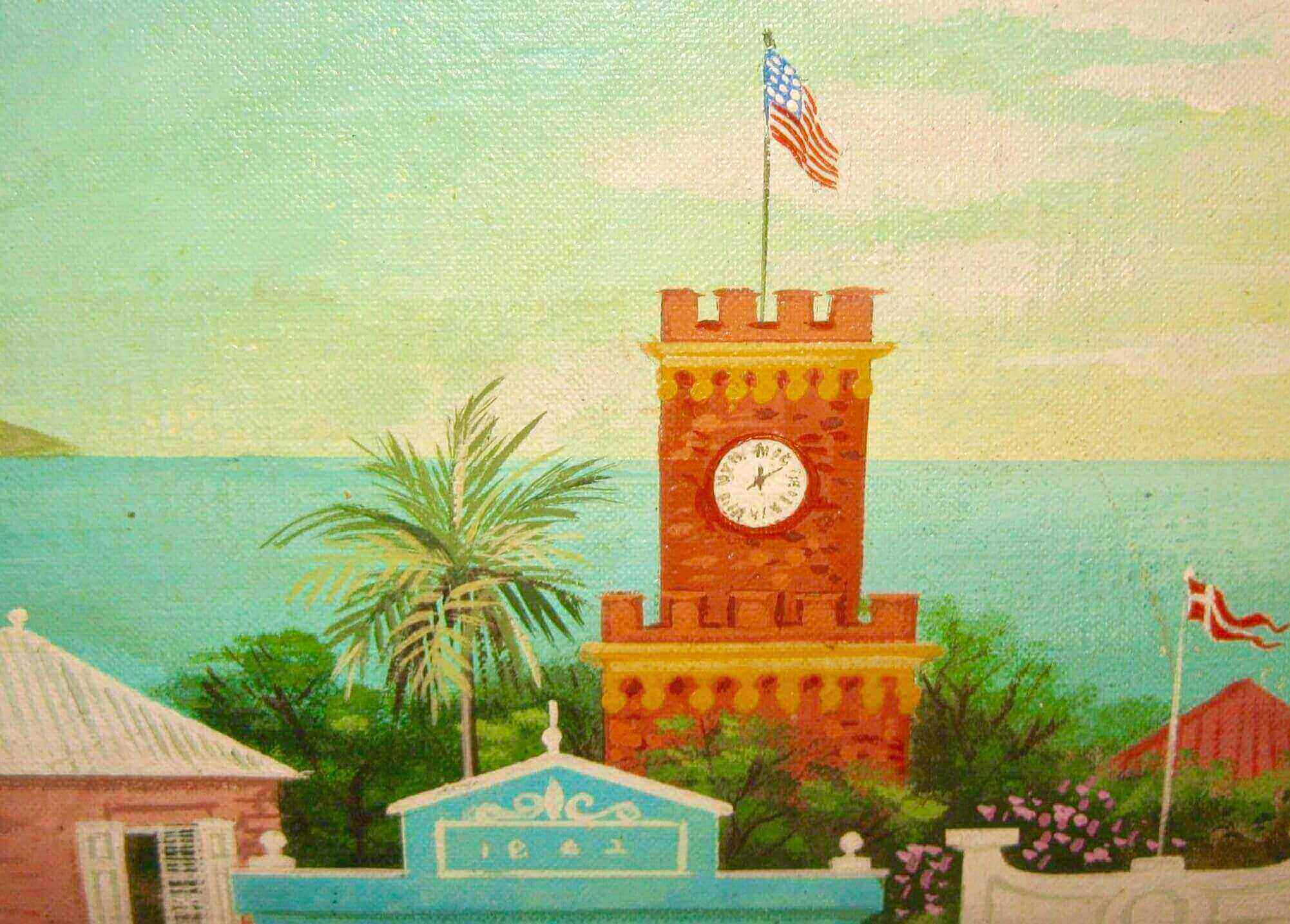 Ira Smith Painting of Main Street, St. Thomas, US Virgin Islands