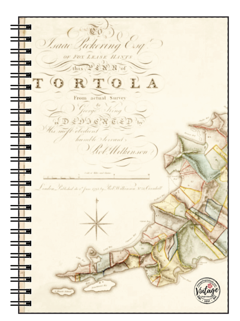 Tortola Map Notebook, British Virgin Islands