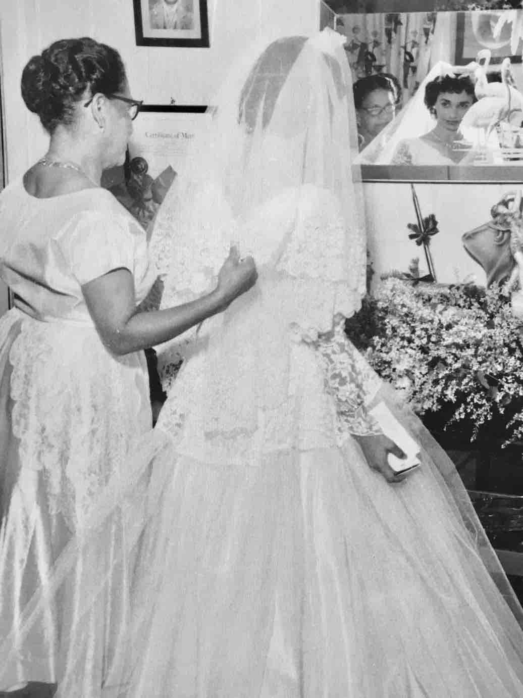 Virgin Islands wedding of Leah Sasso and William Stevens in St Thomas 1955 at the altar,