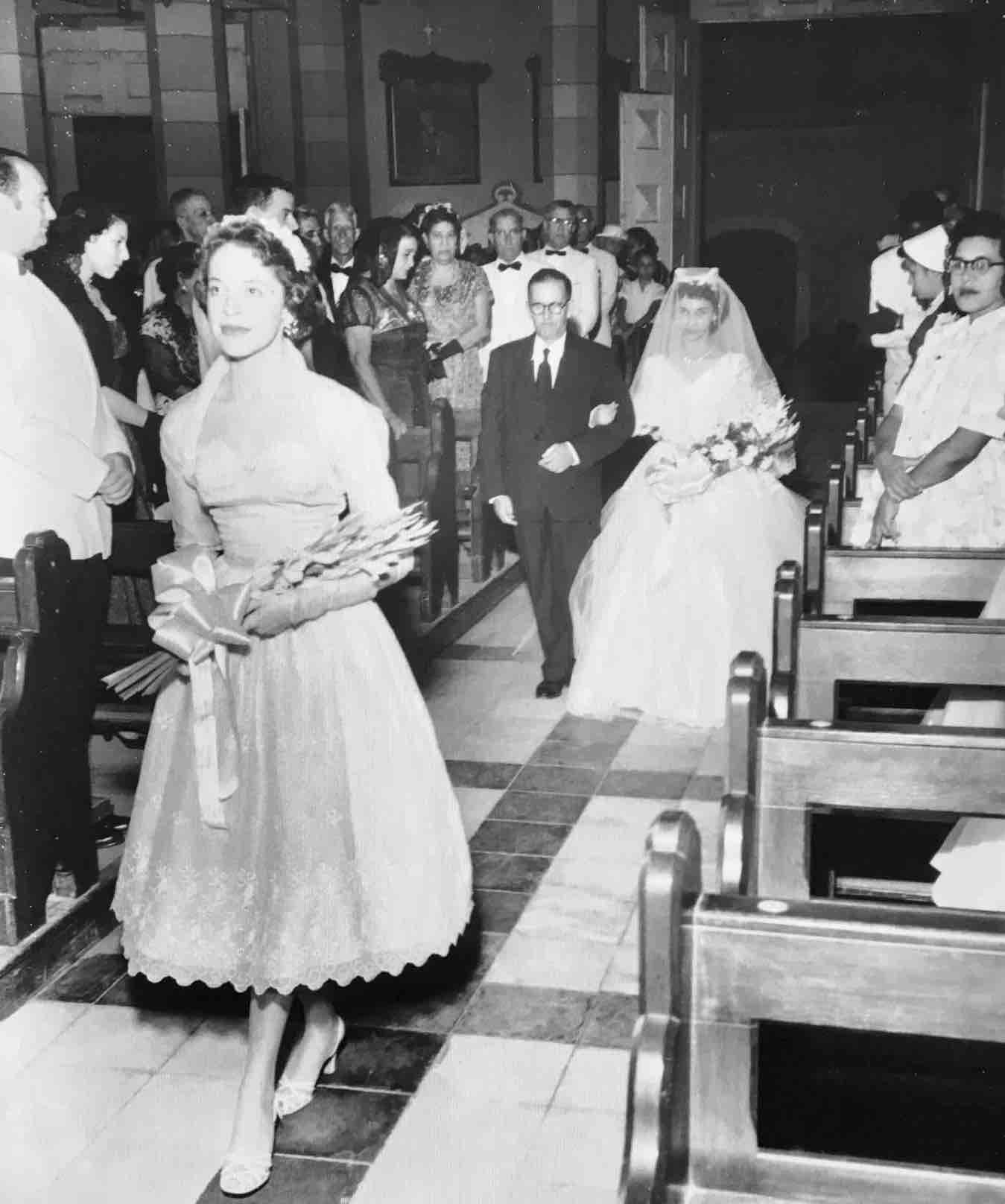 Virgin Islands wedding of Leah Sasso and William Stevens in St Thomas 1955 at the altar, sts peter and Paul catholic church, Leah McAllister