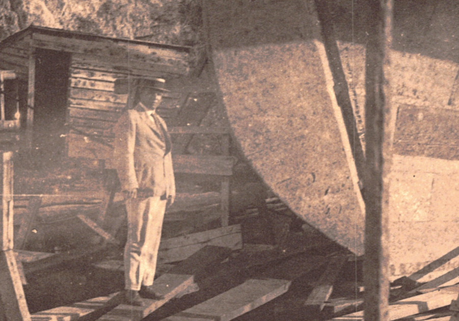 Surveying the damage to the schooner, METEOR at the Creque Marine Railway on Hassel Island in the US Virgin Islands ~ 1920 By Valerie Sims