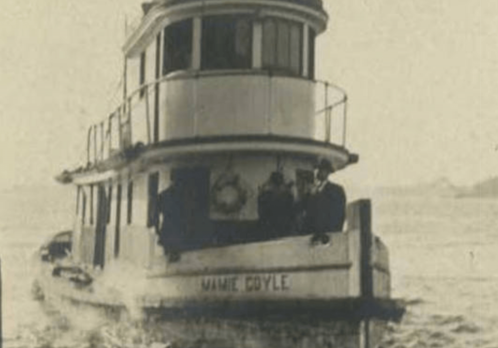 Raising the MAMIE COYLE at the Creque Marine Railway ~ 1929 By Valerie Sims