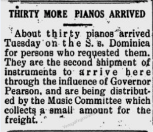 Thanks to Gov. Paul M. Pearson for getting thirty pianos for the people of the US Virgin Islands ~ 1934 By Valerie Sims