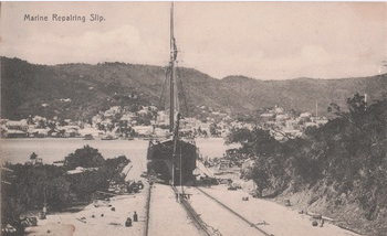The VENTURE is lifted at the Creque Marine Railway on Hassel Island in the Danish West Indies ~ 1912 By Valerie Sims