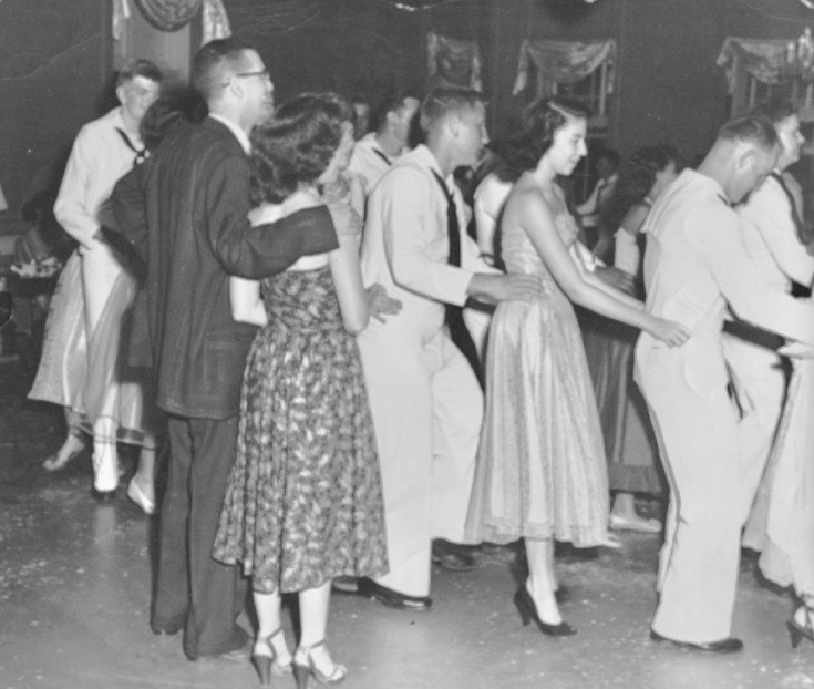 Dancing with the Danmark cadets in the US Virgin islands.