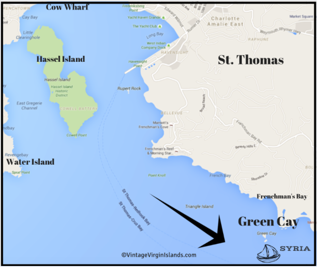 St. Thomas map, The Loss of the British sloop, SYRIA off Green Cay in the Danish West Indies by Valerie Sims