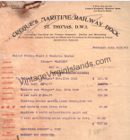The Creque Marine Railway invoice for the USS Ranger.