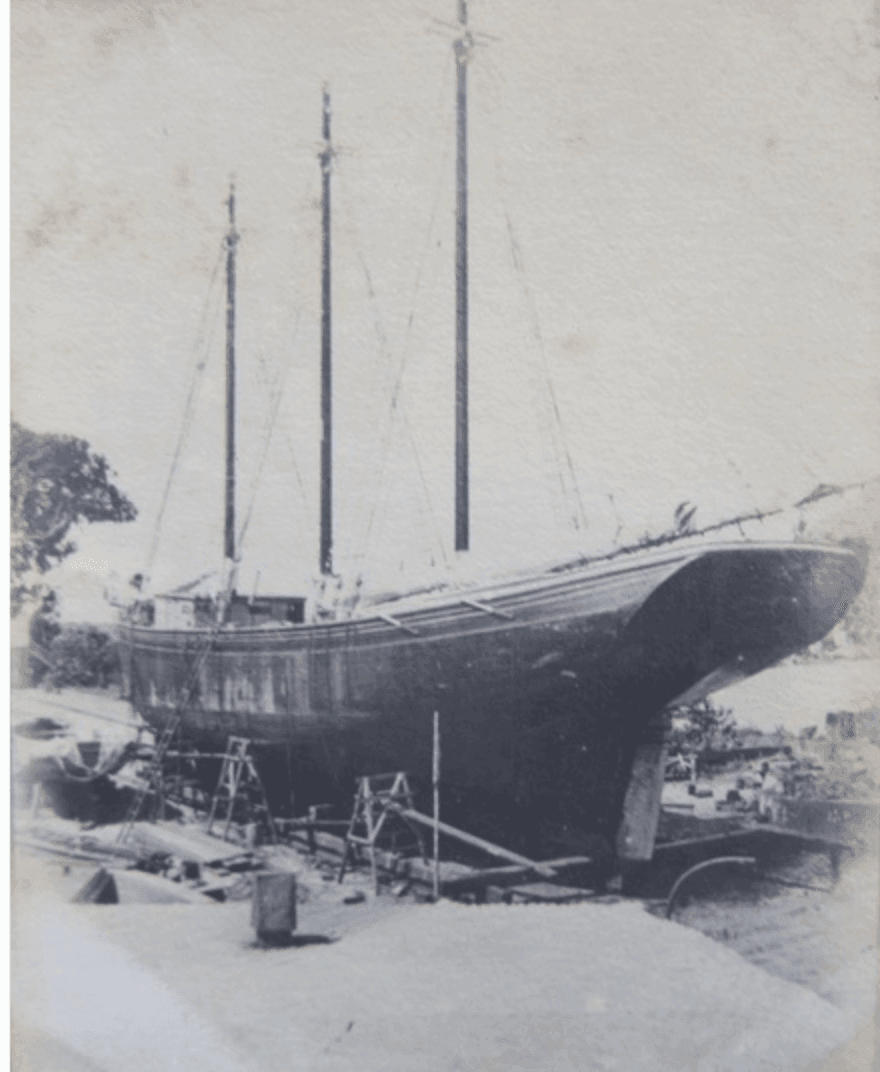 Glimpse the last known photograph of the ill-fated GAVIOTA at the Creque Marine Railway on Hassel Island ~ 1921 By Valerie Sims