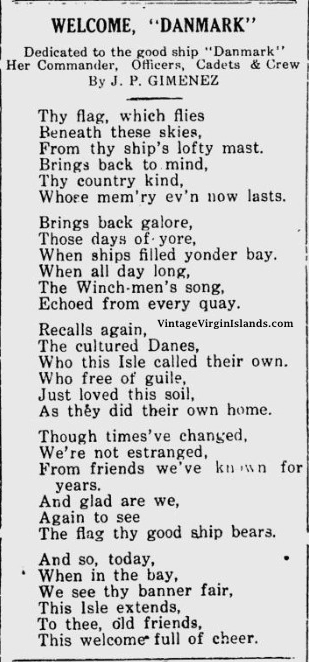 Poem for the First visit of the Danish Training Ship, DANMARK to the US Virgin Islands ~ 1934