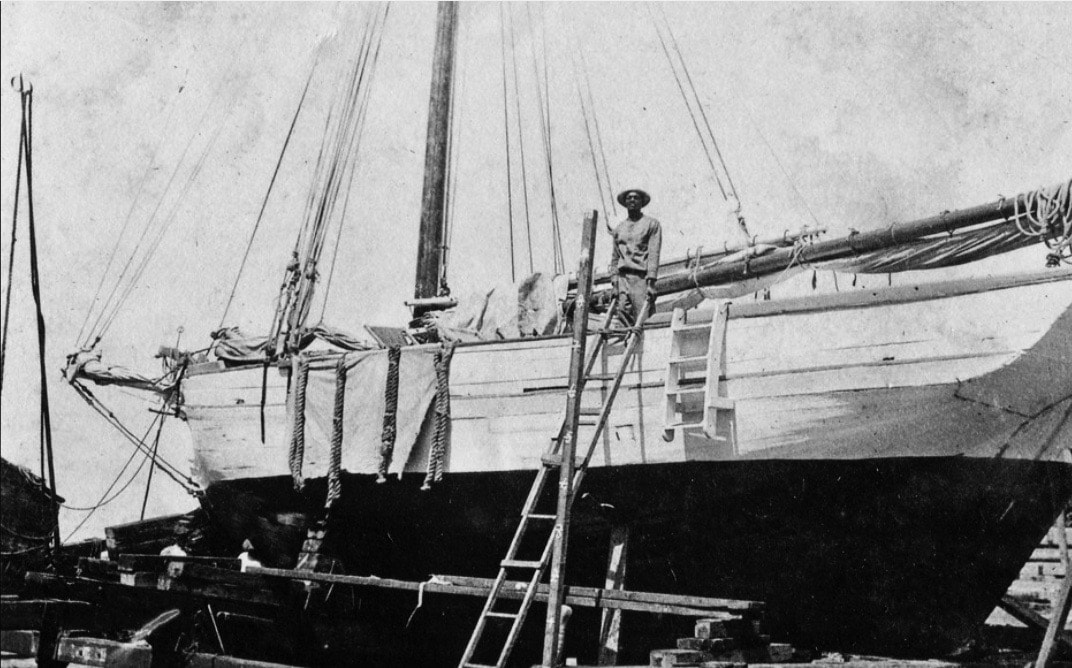 The inter-island sloop, EAGLE at the Creque Marine Railway on Hassel Island ~ 1920s. By Valerie Sims