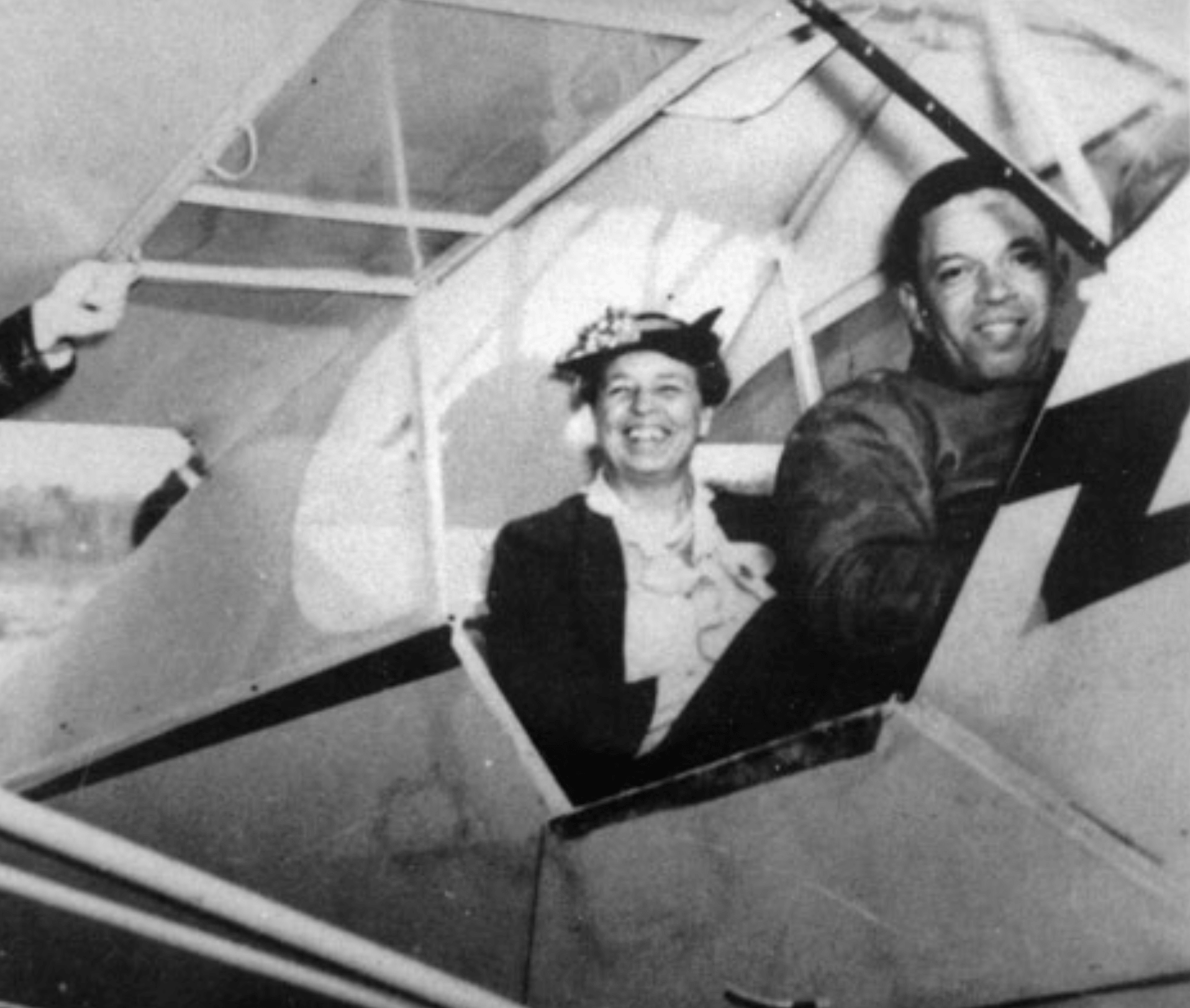 First Lady, Eleanor Roosevelt with pilot, Chief Anderson