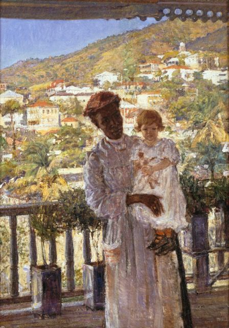 Hugo Larsen's Nanny with Baby painting in St. Thomas, Danish West Indies ~ 1905 By Dante Beretta