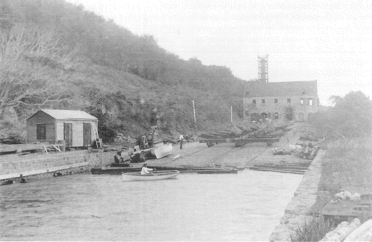 Photographer captured early image of Creque Marine Railway on Hassel Island.