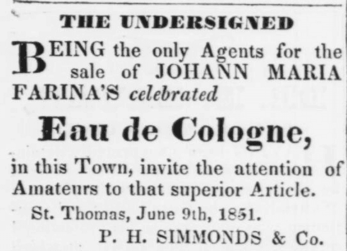 Eau de Cologne Advertisement ~ 1851