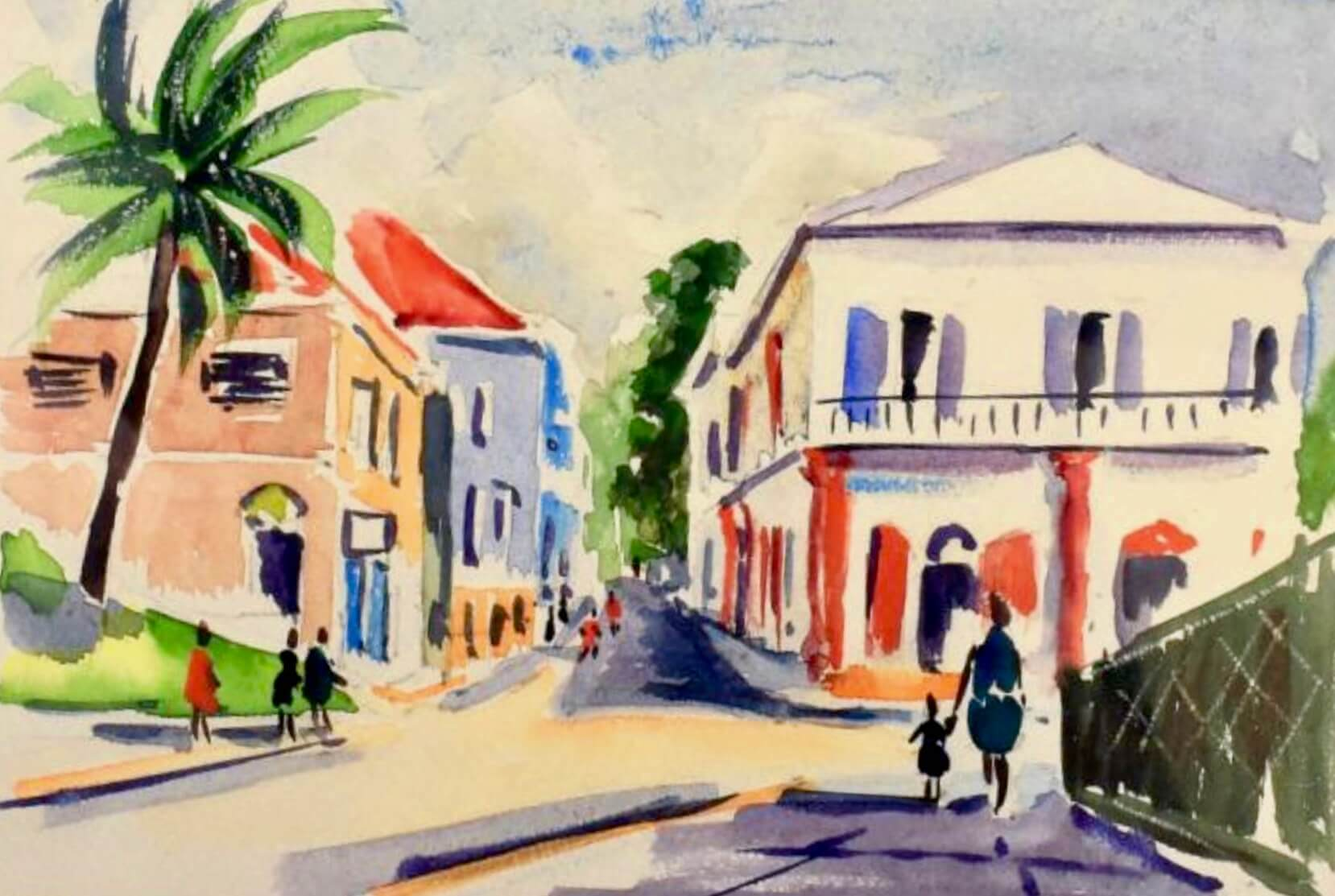Pretty watercolor painting of the Grand Hotel in St. Thomas, US Virgin Islands by M NIeld