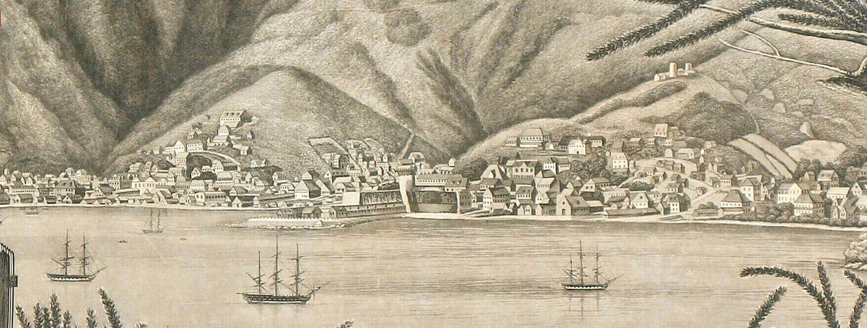 View of St. Thomas from Havensight, Danish West Indies ~ 1809