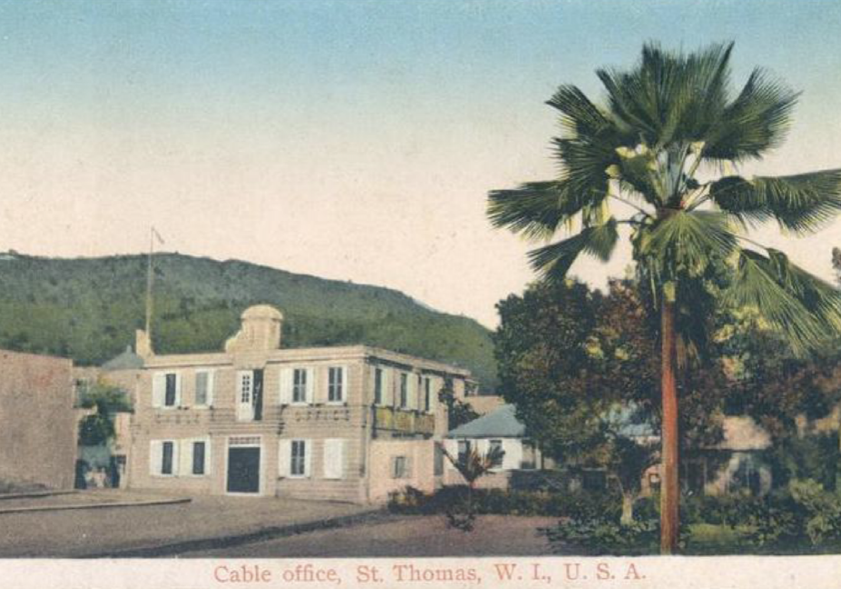 Telegraph Office Postcard in St. Thomas, Danish West Indies ~ 1909